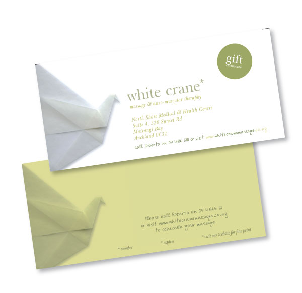 Massage gift certificates are envelop sized. The back side of the card has space for your personal message